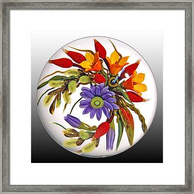 Glass Blooms Leaves And Seedpods Framed Print by Chris Buzzini