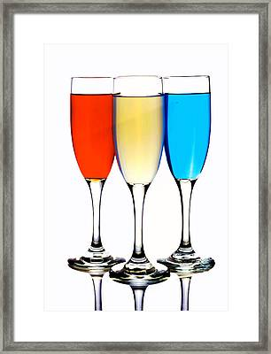 Glass Cups And Colorful Drinking Liquid Art Framed Print by Paul Ge
