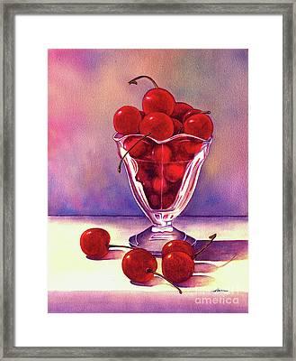 Glass Full Of Cherries Framed Print by Nan Wright