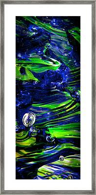 Glass Macro Seattle Seahawks Wave Framed Print by David Patterson