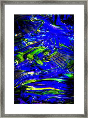 Glass Macro Abstract Seahawks Blue And Green Framed Print by David Patterson