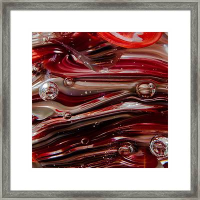 Glass Macro Abstract - Crimson And Gray V Framed Print by David Patterson