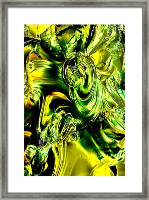 Glass Macro Abstract - Greens And Yellows Framed Print by David Patterson