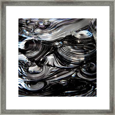 Glass Macro - Black And White Framed Print by David Patterson