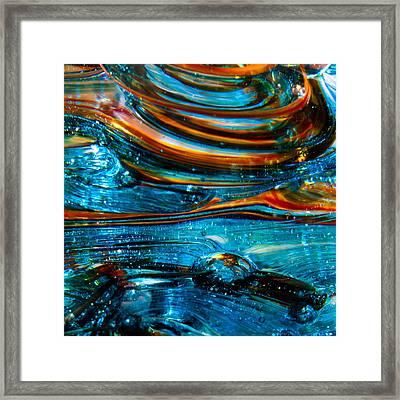 Glass Macro - Blue Swirls Framed Print by David Patterson