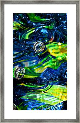 Glass Macro - Seahawks Blue And Green -13e4 Framed Print