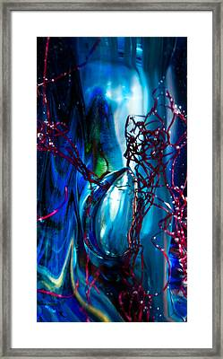 Glass Macro - The Blue Bubble Framed Print by David Patterson