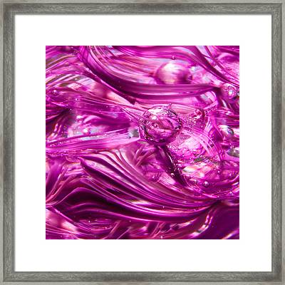 Glass Macro - Waves Of Pink Framed Print by David Patterson