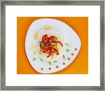 Glass Noodles With Vegetables  Framed Print by Alexey Stiop