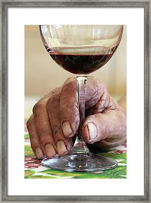 Glass Of Red Wine Framed Print by Mauro Fermariello
