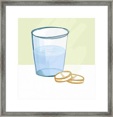 Glass Of Water And Tablets Framed Print by Paul Brown