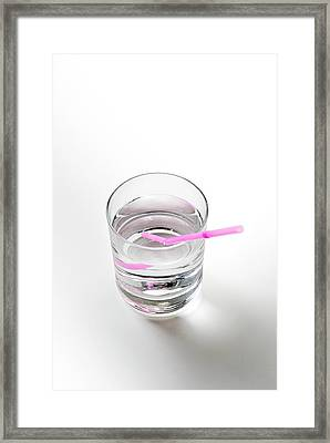 Glass Of Water With A Straw Framed Print by Trevor Clifford Photography