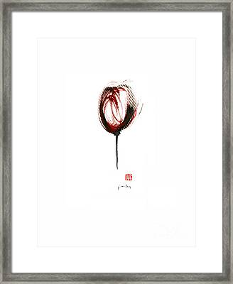 Glass Of Wine Red Purple Black Tulip Flower Burgundy Scarlet Bordeaux Cabernet Watercolors Painting Framed Print