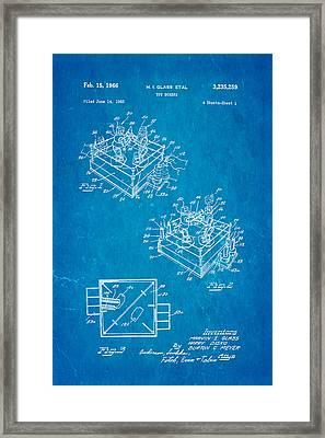 Glass Rock Em Sock Em Robots Toy Patent Art 1966 Blueprint Framed Print
