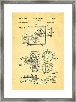 Glass Rock Em Sock Em Robots Toy Patent Art 2 1966 Framed Print
