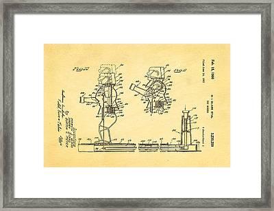 Glass Rock Em Sock Em Robots Toy Patent Art 3 1966 Framed Print by Ian Monk