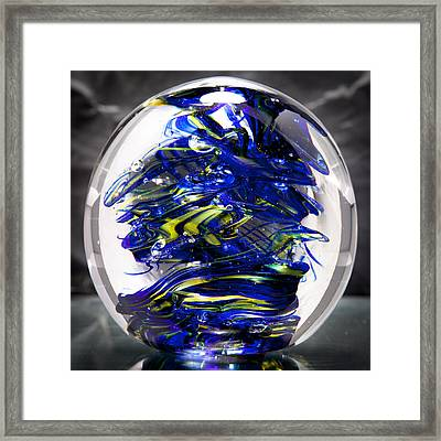 Glass Sculpture Cobalt Blue And Yellow - 13r2 Framed Print by David Patterson