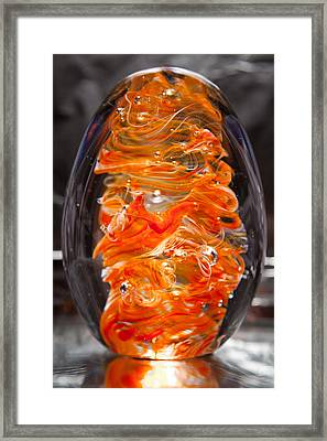 Glass Sculpture Orange And White Ego1  Framed Print by David Patterson
