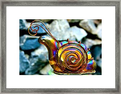 Glass Snail Garden Art Framed Print by Karon Melillo DeVega