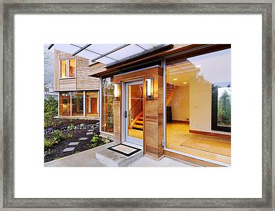 Glass Windows In Modern Home Framed Print by Will Austin