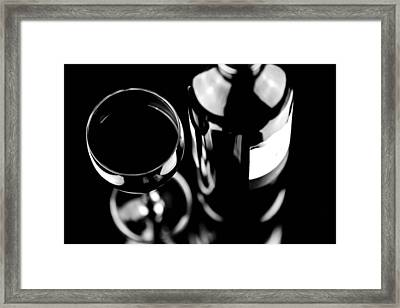 Glass With Bottle Of Wine Framed Print