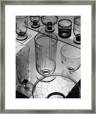 Glasses And Crystal Vases By Walter D Teague Framed Print