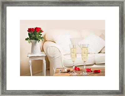 Glasses Of Champagne Framed Print by Amanda Elwell