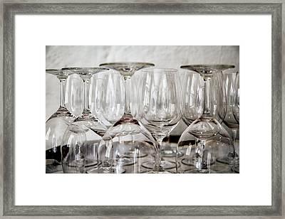 Wine Glasses On A Barrel Framed Print by Georgia Fowler