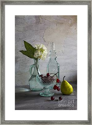 Glassware And Fruits Framed Print by Elena Nosyreva