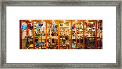 Glassworks Display In A Store, Murano Framed Print