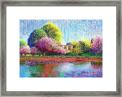 Glastonbury Abbey Lily Pool Framed Print by Jane Small