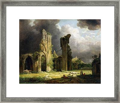Glastonbury Abbey With The Tor Framed Print by George Arnald