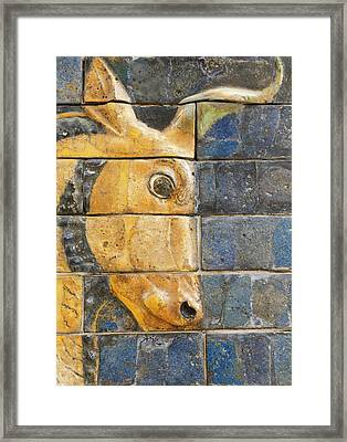 Glazed Brick Bull, Ishtar Gate, Babylon Framed Print by Ken Welsh