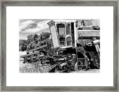 Gleaner F Combine In Black-and-white Framed Print
