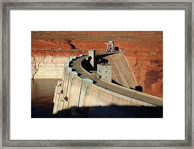 Glen Canyon Dam Across Colorado River Framed Print by David Wall