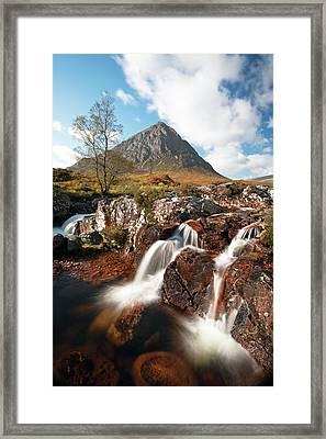 Glen Etive Mountain Waterfall Framed Print by Grant Glendinning
