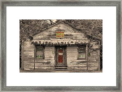 Glenda's Sewing Framed Print by Victor Montgomery