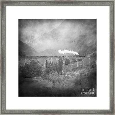 Framed Print featuring the photograph Glenfinnan Black And White by Roy  McPeak