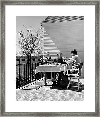 Glenway Wescott And Somerset Maugham On A Porch Framed Print by  Balkin-Pix