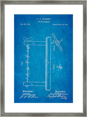Glidden Barbed Wire Patent Art 1874 Blueprint Framed Print by Ian Monk