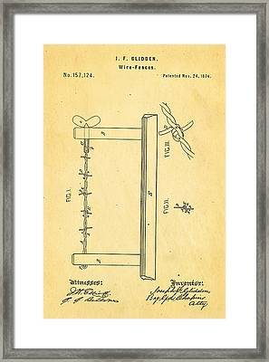 Glidden Barbed Wire Patent Art 1874 Framed Print by Ian Monk
