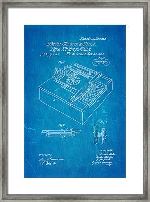 Glidden Type Writer Patent Art 1868 Blueprint Framed Print