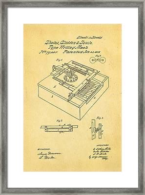 Glidden Type Writer Patent Art 1868 Framed Print