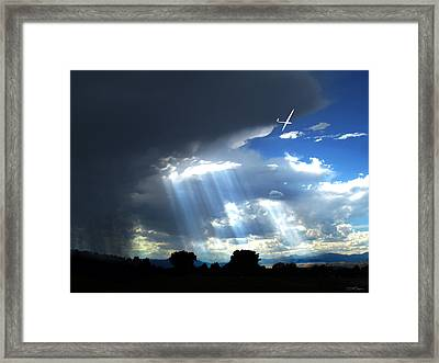Glider Over Colorado Front Range Framed Print by Ric Soulen
