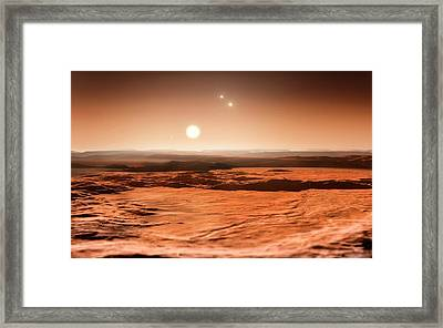 Gliese 667 Triple-star System Framed Print by Eso/m. Kornmesser