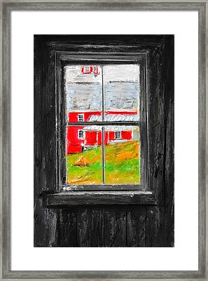 Glimpse Of Country Life- Red Barn Art Framed Print by Lourry Legarde