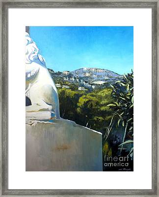 Glimpse Of Eze Framed Print by Lin Petershagen