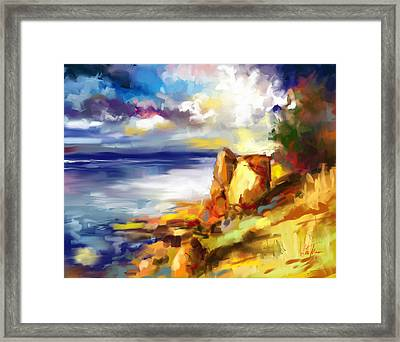 Glimpse Of The Sun In The Storm  Framed Print