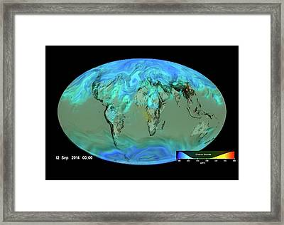 Gloabl Carbon Dioxide Sinks Framed Print by Nasa's Scientific Visualization Studio/science Photo Library