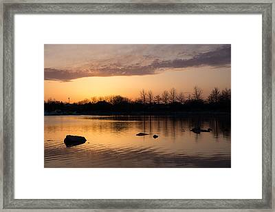 Gloaming - Subtle Pink Lavender And Orange At The Lake Framed Print by Georgia Mizuleva